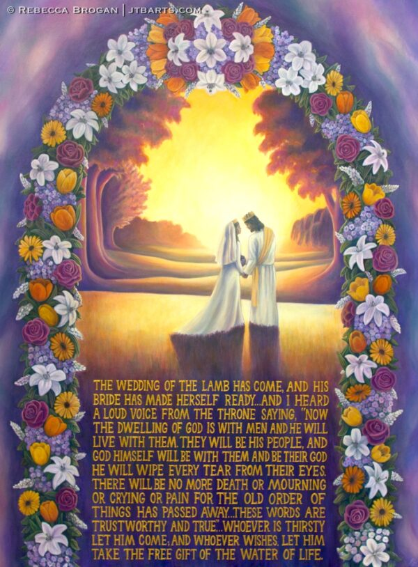 Jesus the bridegroom with the bride of Christ at marriage. Revelation 21.