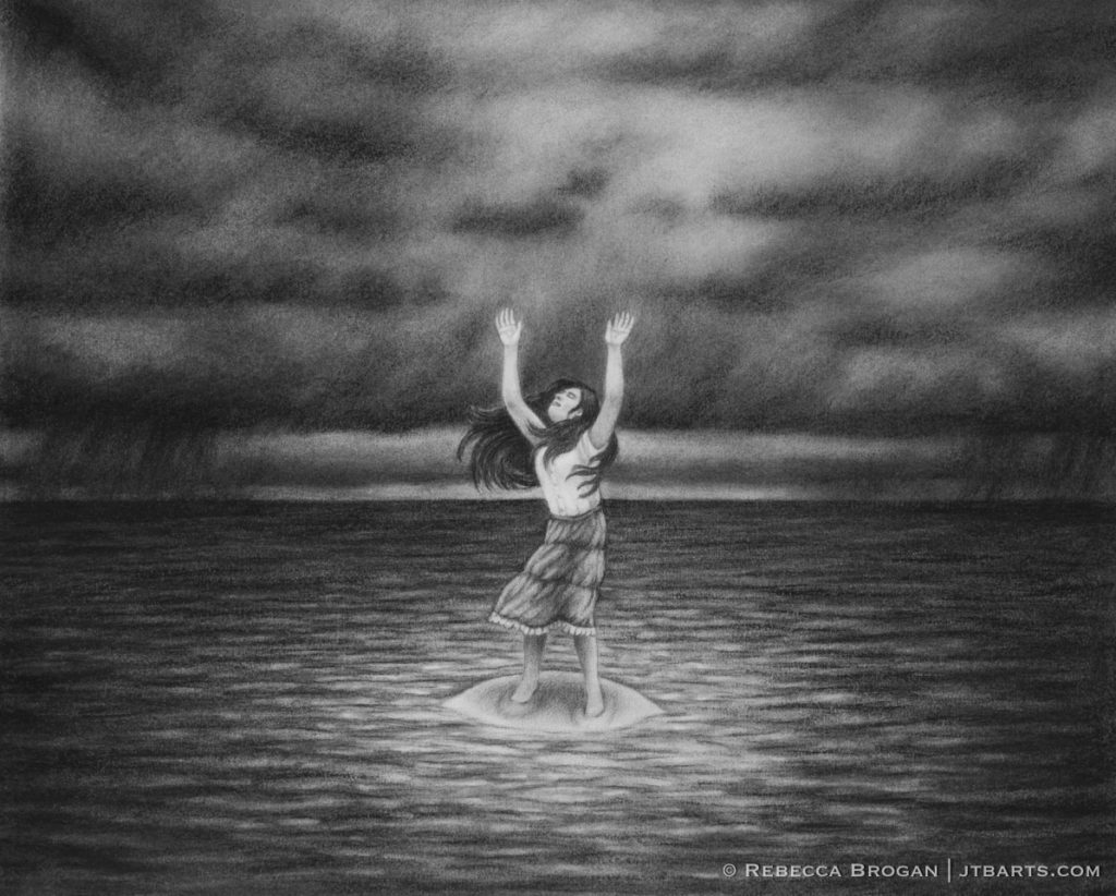 Person lifting hands in worship despite adversity and difficulty. Black and white Christian artwork. Habakkuk 3:17-19.