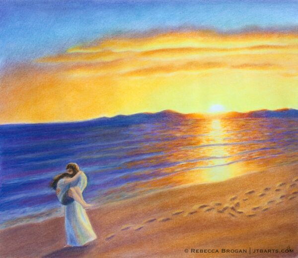 Footprints in the sand poem Christian artwork. Jesus is carrying a person with only one set of footprints.