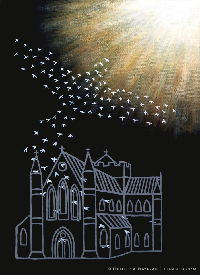 Freedom from a religious spirit Christian artwork. Doves flying out of a church.