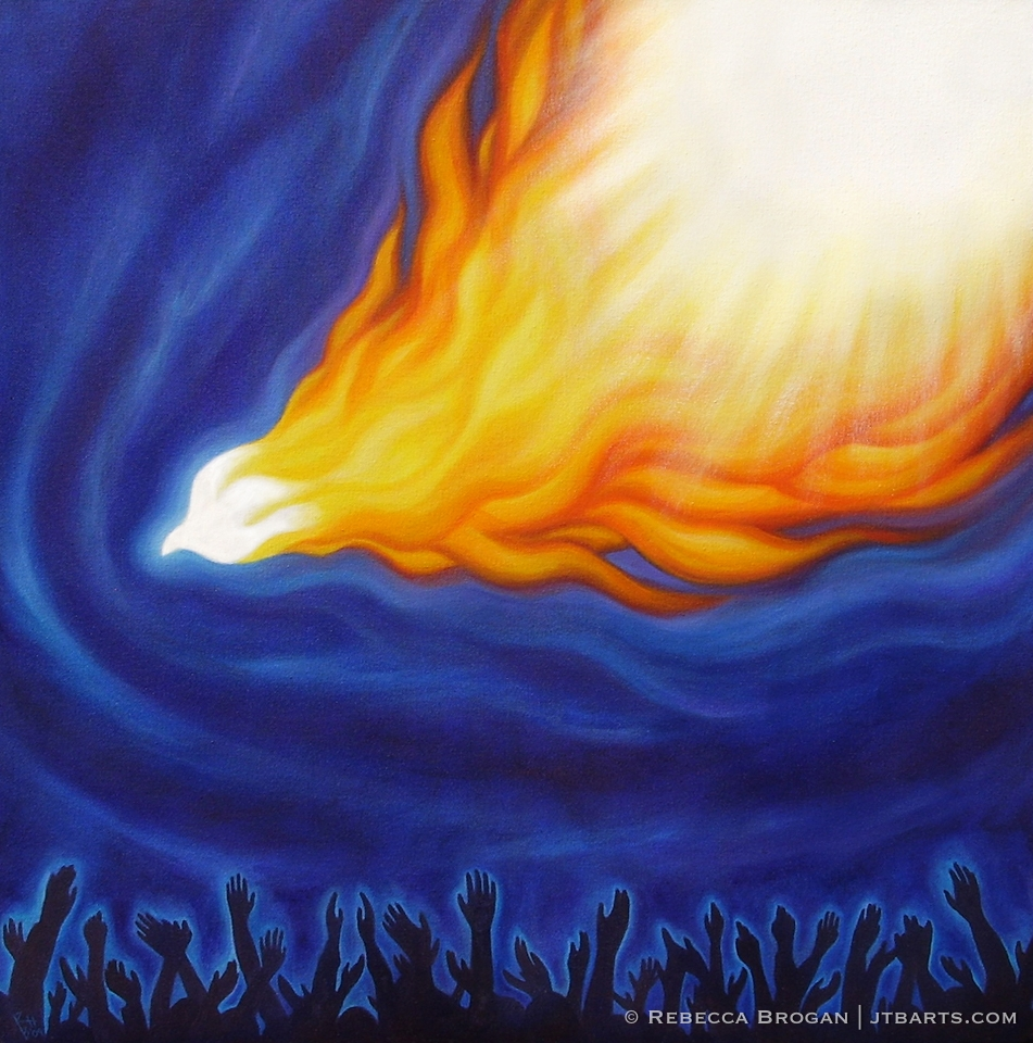 Holy Spirit fire descending on people who worship in spirit and in truth. Christian artwork.
