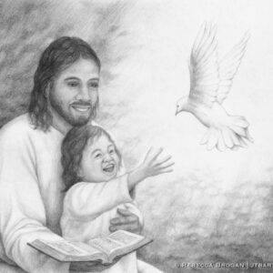 Jesus holding a little child who is reaching up to the Holy Spirit as a dove. Christian artwork.
