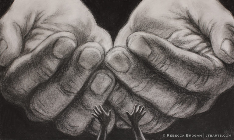 God's hands and someone with uplifted hands trusting something into the hands of God. Christian artwork about trusting God.