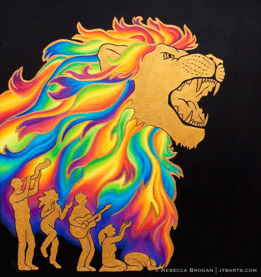 Lion of the tribe of Judah roaring. Rainbow colors of Christian praise and worship in his mane. People worshiping in spirit and truth.