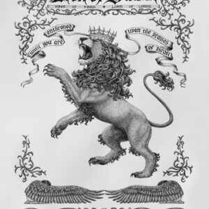 Lion of Judah roaring Christian artwork. Lion of Judah in Hebrew letters.