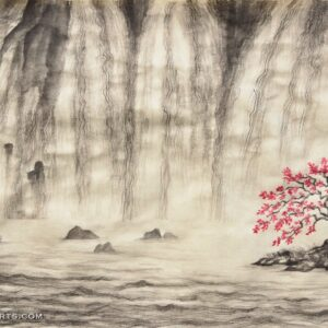 Living water prophetic Christian artwork. A tree planted by streams of living water with a waterfall. John 7:37, John 4:13-14.