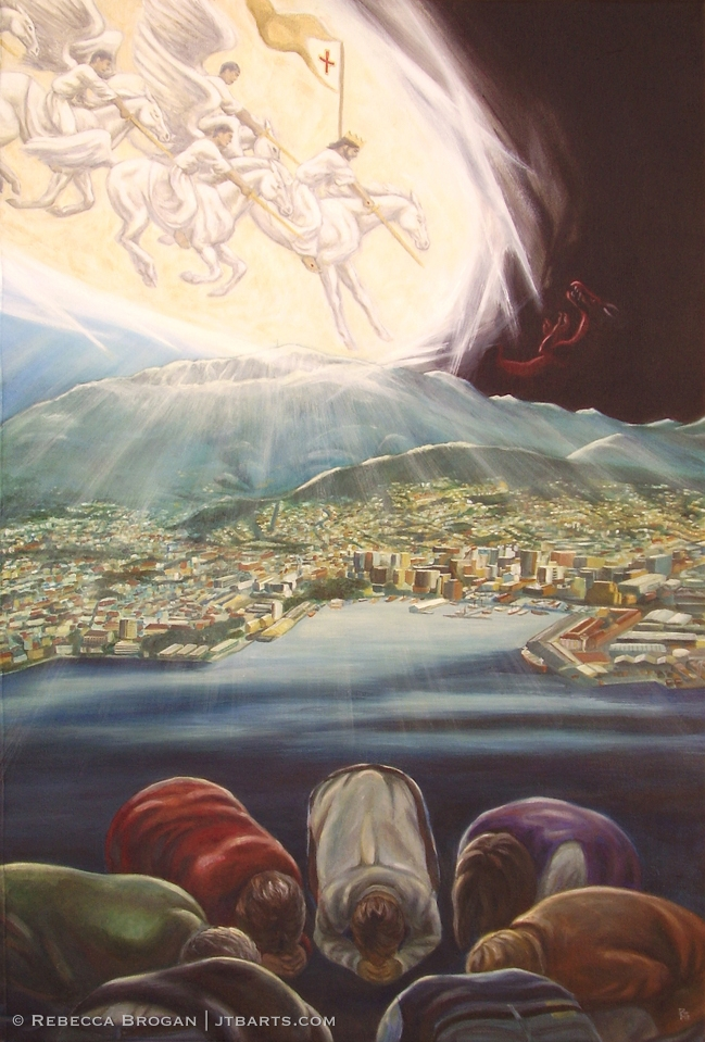 Intercessors interceding for Hobart, Tasmania, Australia. Christian artwork painting.