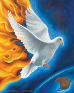 Holy Spirit dove descending in revival fire on the earth like Pentecost. Acts 2, 2 Chronicles 7:14.