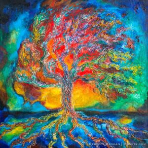 Colossians 2:6-7 prophetic Christian painting of a tree with roots, symbolic of being rooted in Christ.