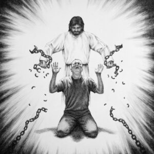 Jesus breaking chains off a person kneeling. Black and white Christian artwork drawing.