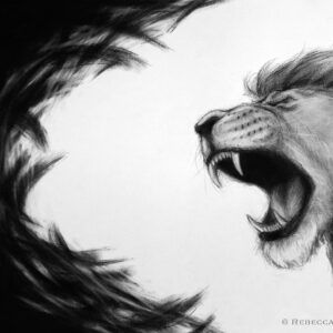 Lion of Judah roaring away darkness. Christian artwork.