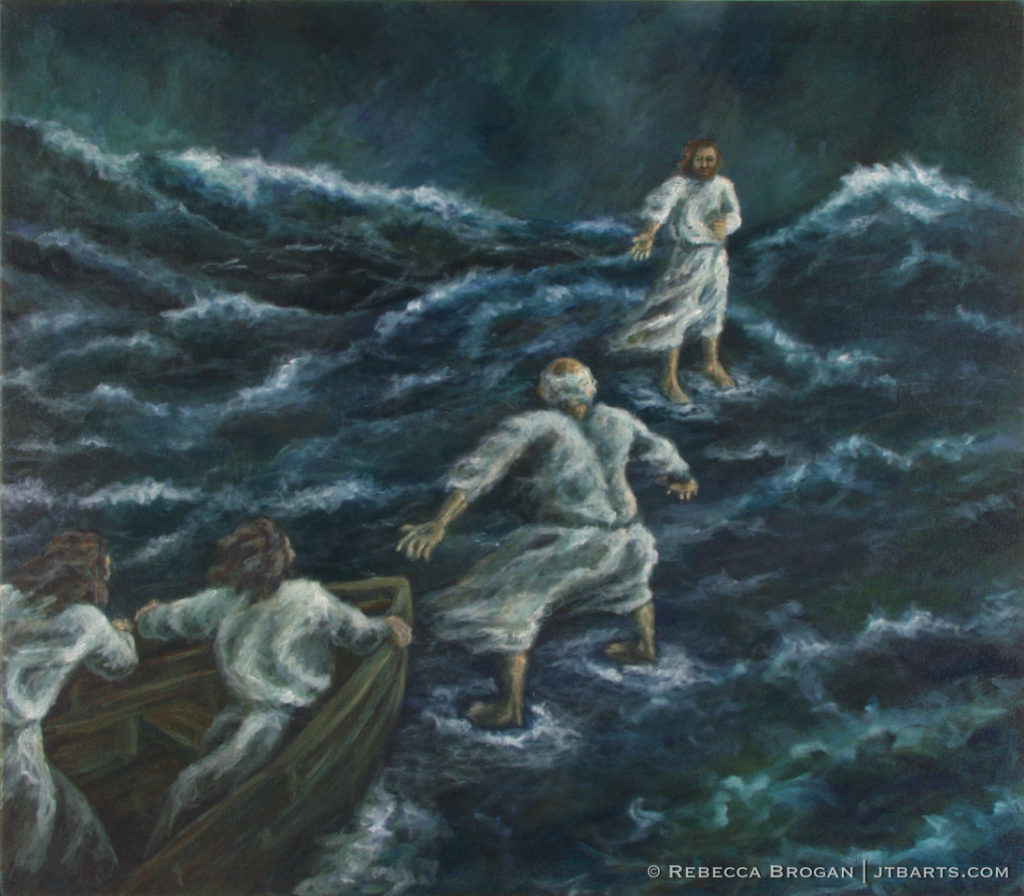 Peter walking on water and Jesus walking on water. Christian artwork image.