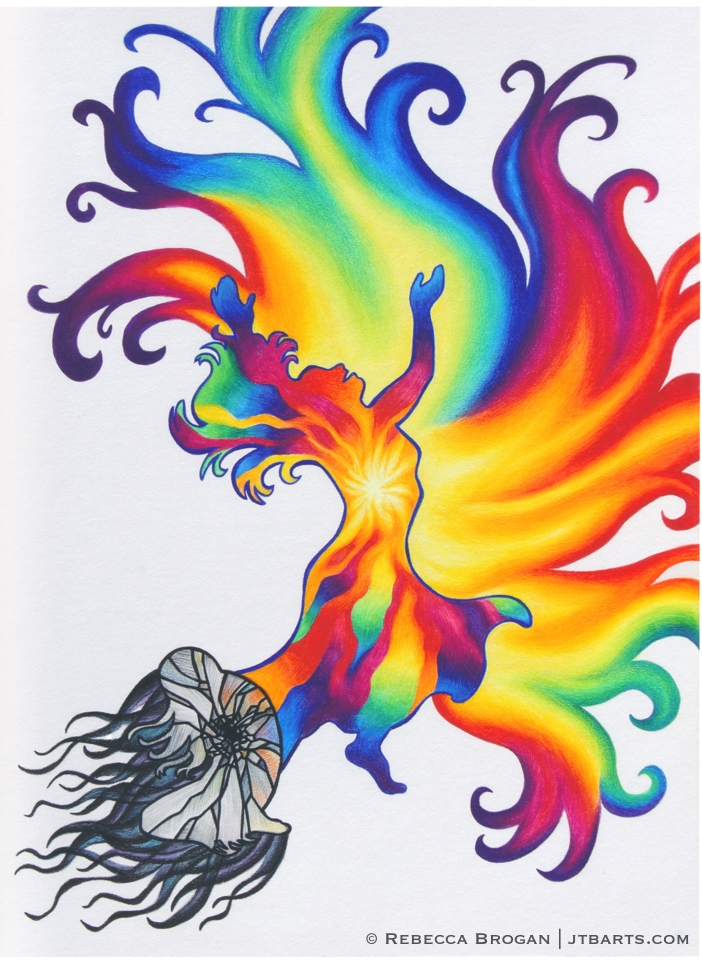 Psalm 30:11 You have turned my wailing, mourning into dancing and clothed me with garments of joy Christian artwork. Mourning woman turning to dancing with rainbow colors.
