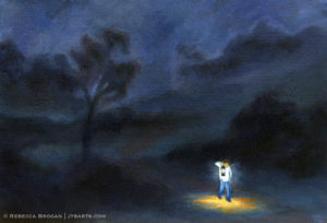 Lamp to my feet, light for my path. Psalm 119:105 artwork illustration.