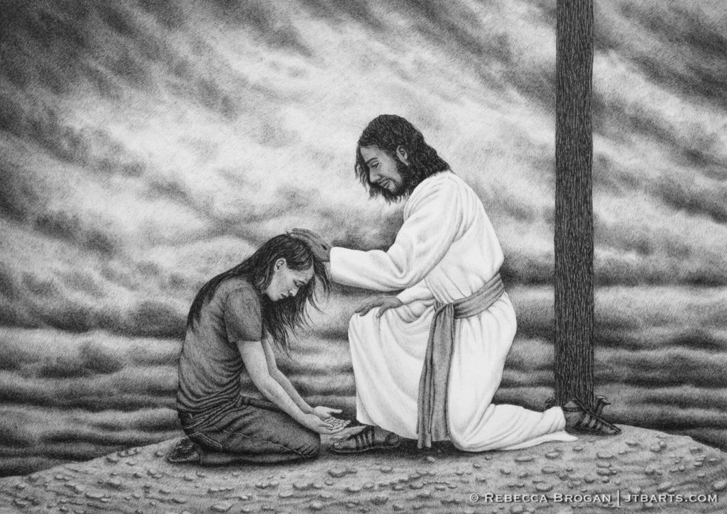 Person kneeling at the foot of the cross repenting. Jesus forgiving a sinner.