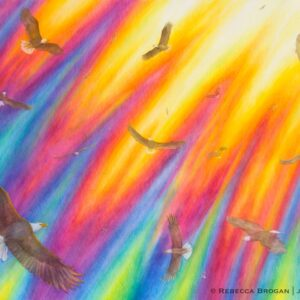 Eagles soaring in God's presence with a rainbow around his throne. Prophetic Christian artwork.