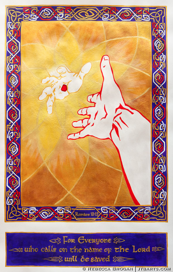 Romans 10:13 illustration of a hand reaching to Jesus' hand.
