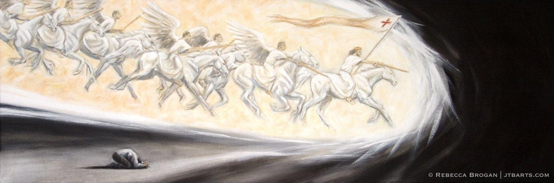 Intercessory prayer artwork of an intercessor interceding with an army of angels in spiritual warfare.
