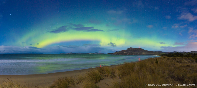 Aurora Australis, Hobart, Tasmania, Australia. Southern lights from Seven Mile Beach.