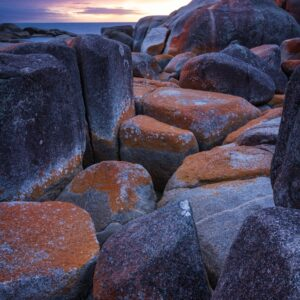 Bay of Fires sunrise over Binalong Bay, Tasmania.