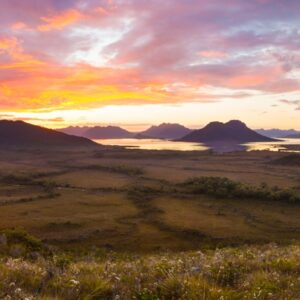 Lake Pedder sunset panorama, Mt. Eliza track, Tasmania