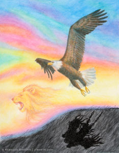 Christian healing and breakthrough artwork. An eagle soaring with broken chains to depression with the Lion of Judah roaring.