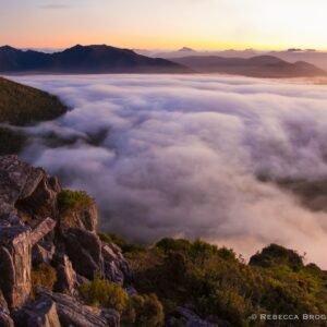 High camp sunset, Mt. Eliza, Mt. Anne track circuit, Tasmania