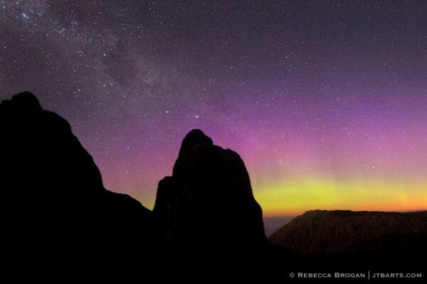 Aurora Australis from Mt. Wellington, Kunanyi, Hobart, Tasmania, Australia. Southern lights.