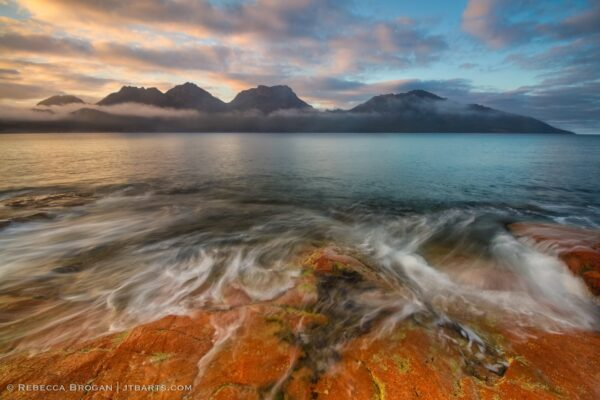 Hazards Sunrise Coles Bay Freycinet landscape photograph.