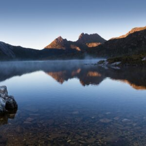 Cradle Mountain, Dove Lake, boatshed, boat house panorama photograph.