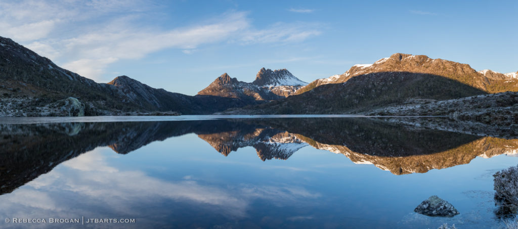 Snowy Cradle Mountain Dove Lake Reflection panorama photograph.