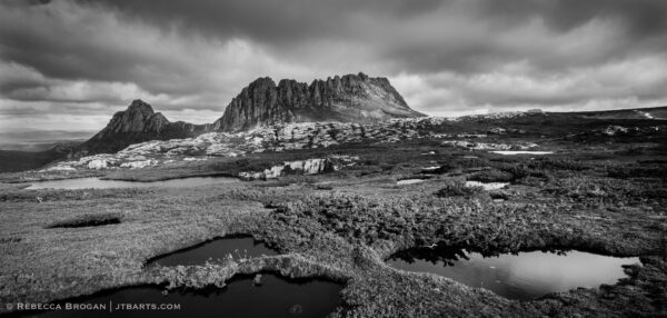 Cradle Mountain from The Overland Track, Tasmania, black and white panorama photo.