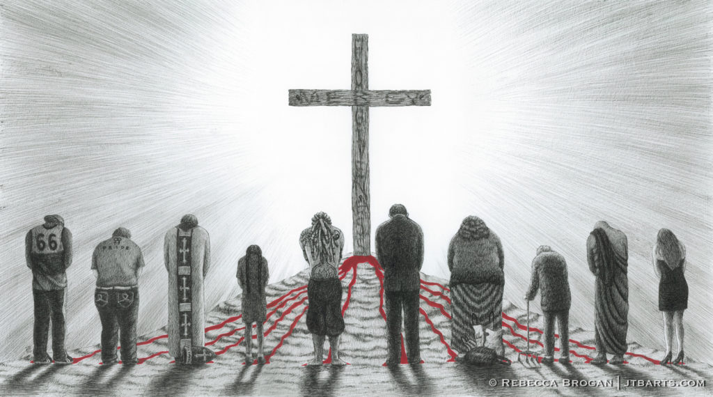 People standing at the foot of the cross of Jesus Christ, repenting of sins. Blood of Jesus flows down. Christian artwork.