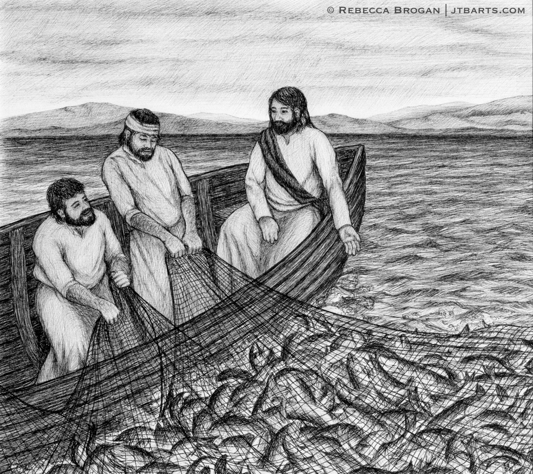 The miraculous catch of fish, Jesus calling his disciples to be fishers of men.
