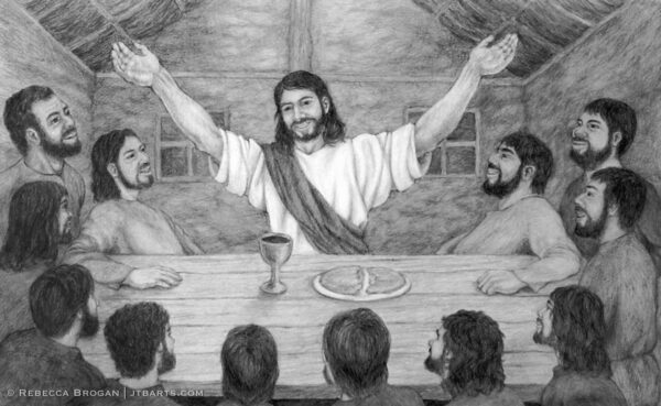 Gods FreeThe Last Supper modern Christian artwork black and white. Gift of Forgiveness The Last Supper