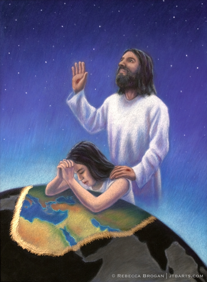 Intercessory prayer artwork of an intercessor praying to Jesus, interceding for the world.