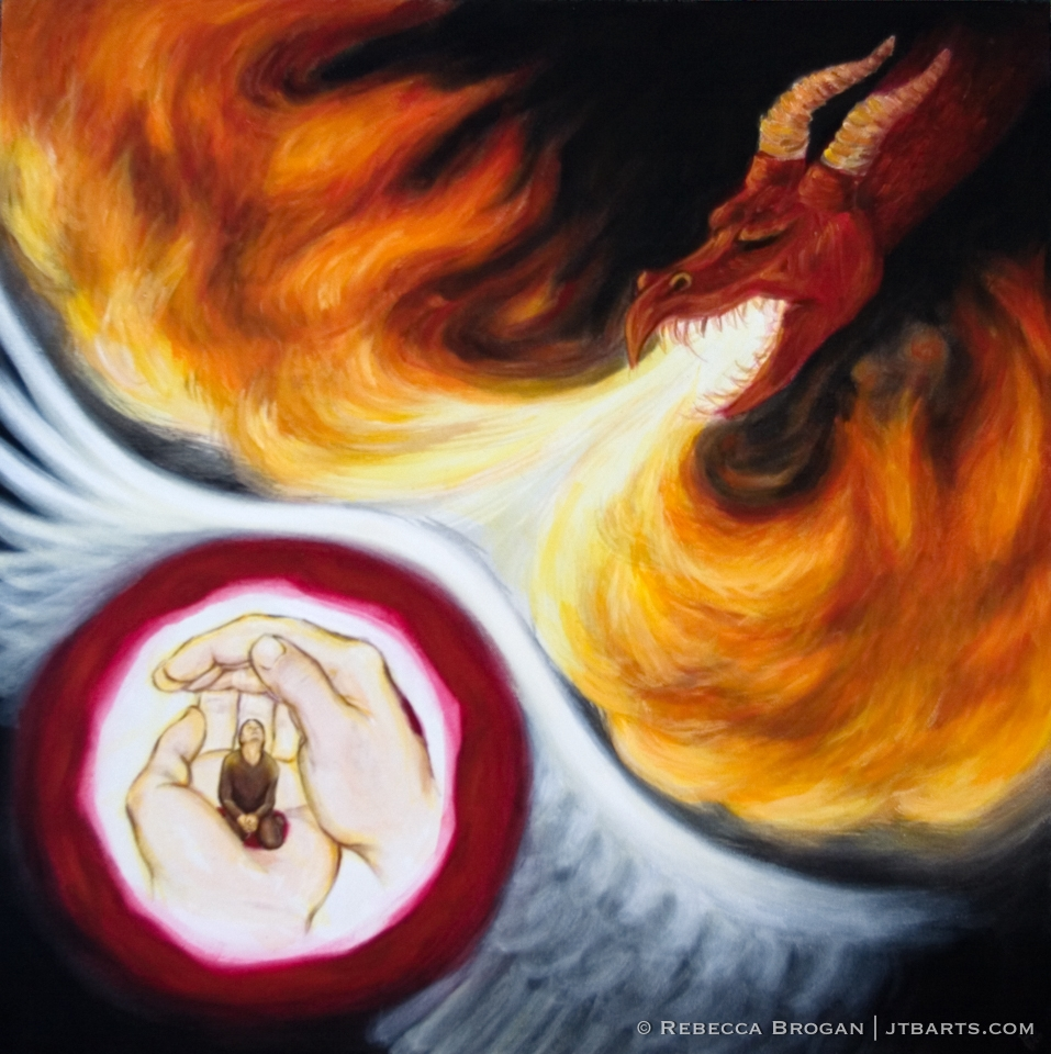 Spiritual warfare artwork of a person in hands of God surrounded by the blood of Jesus underneath the shadow of God's wings attacked by the devil as a dragon. Psalm 91.