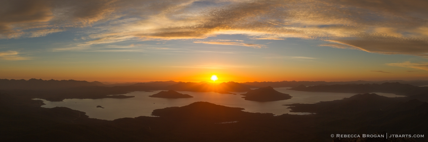 Lake Pedder Sunset Panorama from Mt Eliza, Mt. Anne Circuit, Tasmania