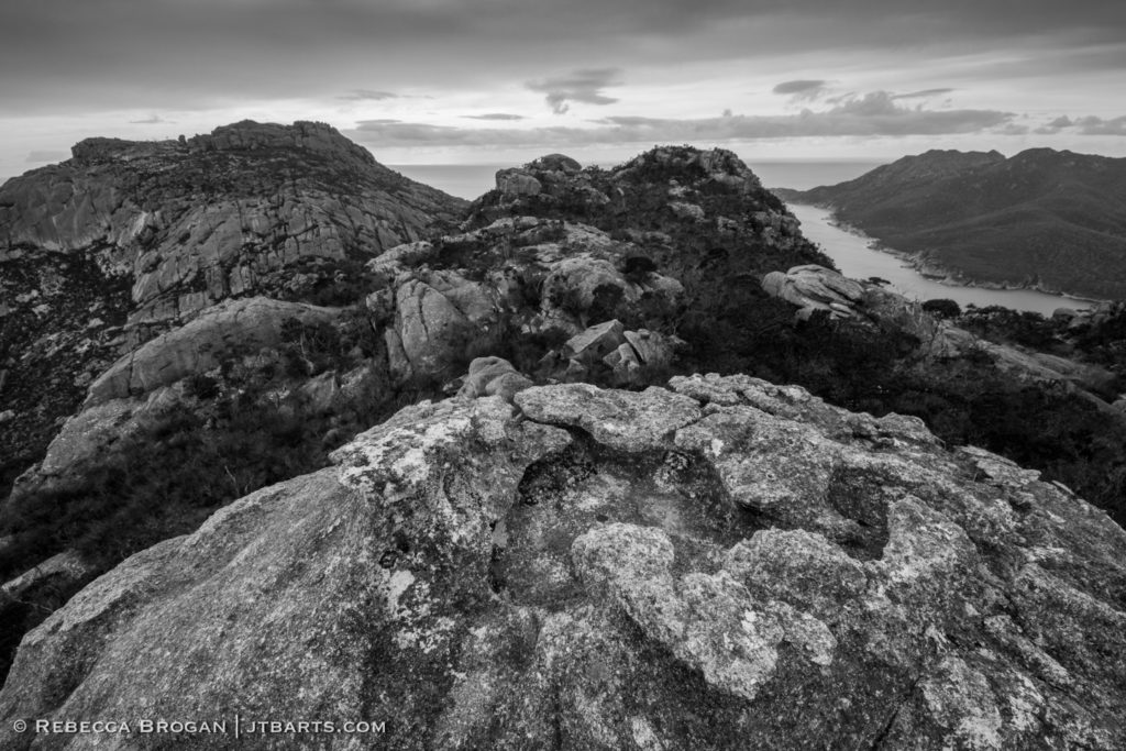 Mt Amos summit, Freycinet National Park black and white