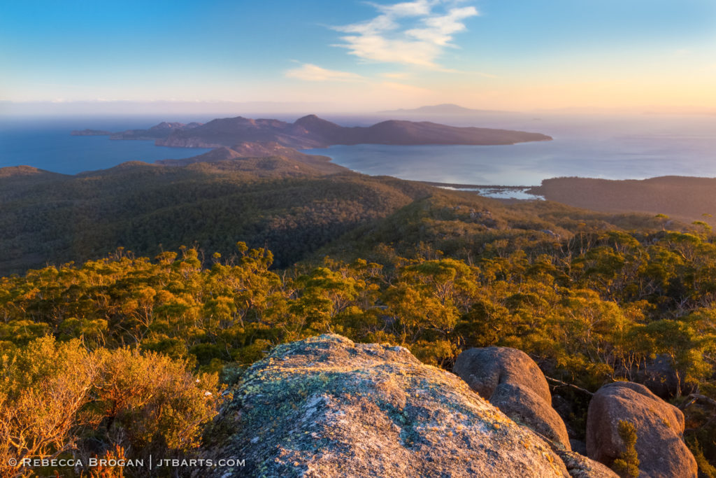 Schouten Island Sunset From Mt Freycinet Freycinet National Park