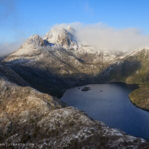 Snowy Cradle Mountain and Dove Lake, Tasmania.