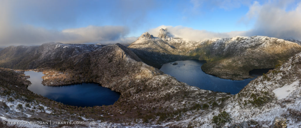 Snowy Cradle Mountain, Dove Lake, Lake Hanson panorama photograph.