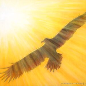 Soaring on wings like eagles, Isaiah 40:30-31. An eagle soaring in light.