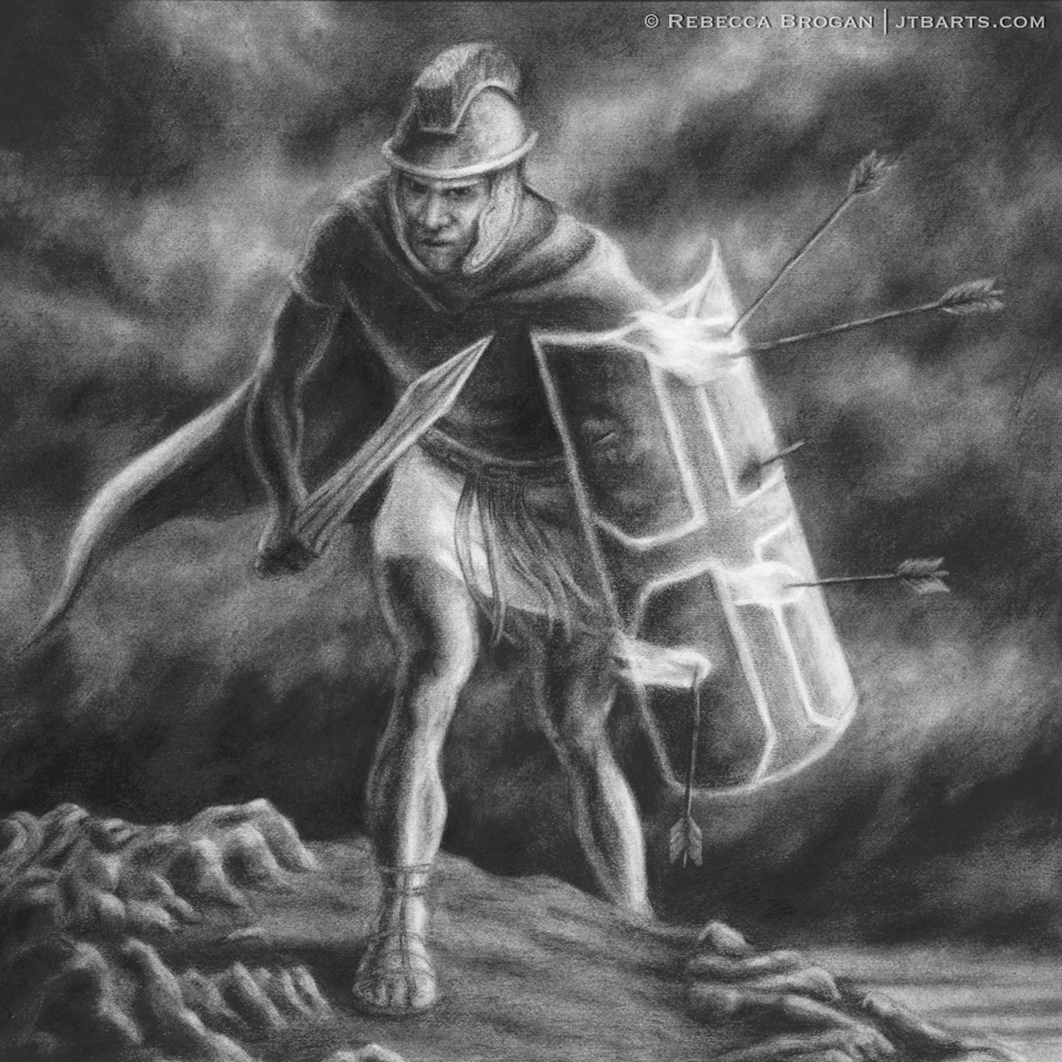 Spiritual warfare artwork image of a soldier in armor of God, engaged in spiritual battle. Ephesians 6:10-18.