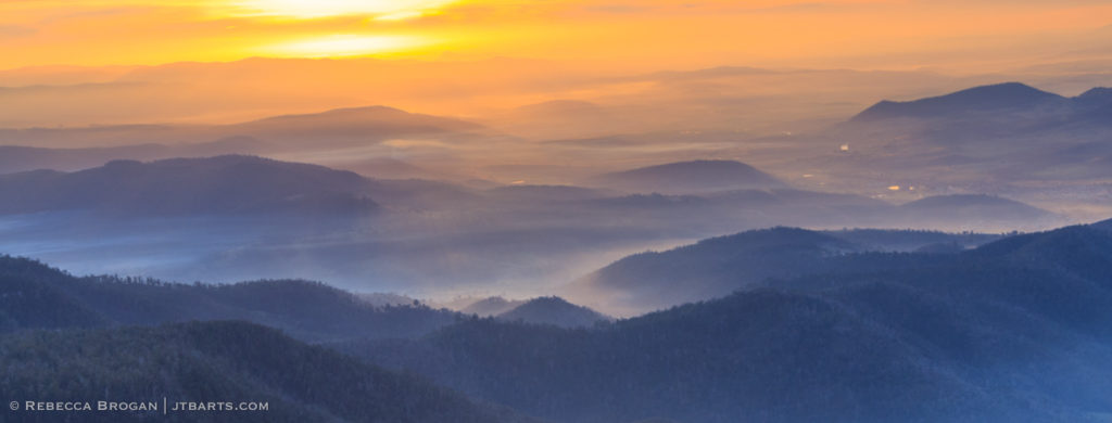 Collins Cap track summit sunset panorama over the Derwent Valley.
