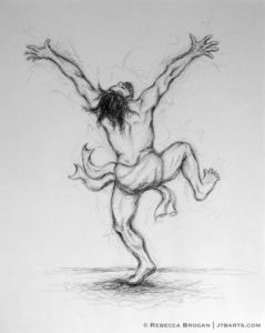 King David dancing before the Lord while bringing the ark up to Jerusalem. Christian artwork.