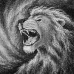 Lion of Judah roaring Christian artwork.