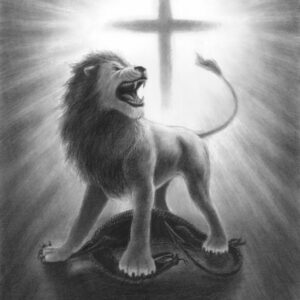 Lion of Judah roaring Christian artwork. The lion of the tribe of Judah crushing the head of the serpent.