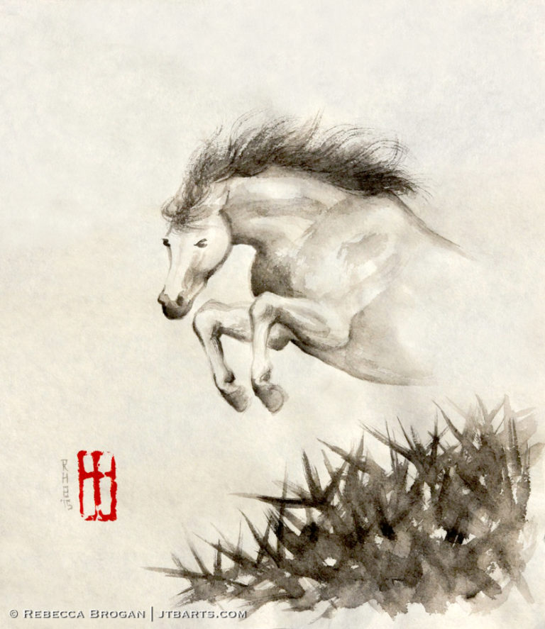 Christian breakthrough and overcomer artwork image of a horse jumping over thorns.