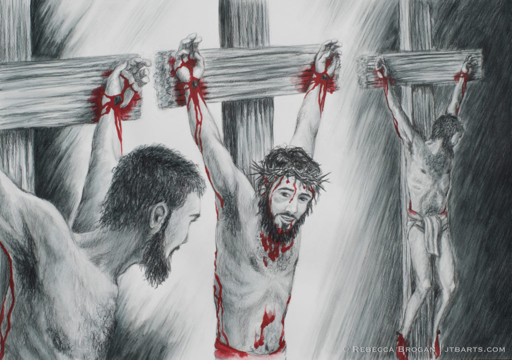 The Thief on The Cross (Luke 23:32-43) Penitent thief. Christian artwork.